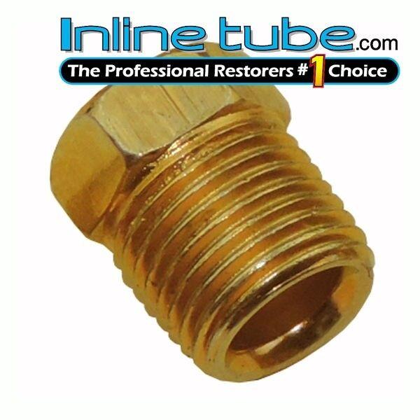 3//8-24 Inverted Flare Gold Zinc Tube Nut Fitting 3//16 Steel Brake Line Tubing 4