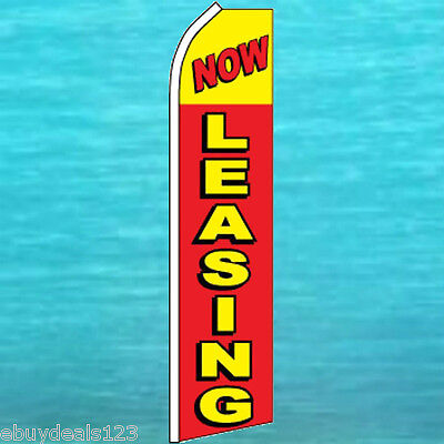 Now Leasing Flutter Feather Flag Real Estate Advertising Swooper Bow Banner