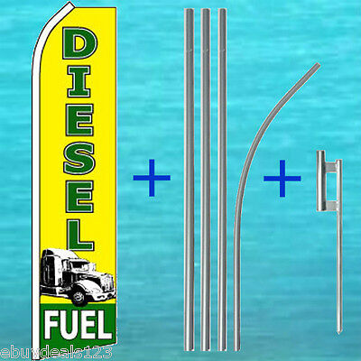 Diesel Fuel Flutter Feather Flag 15 Tall Pole Mount Swooper Bow Banner Sign