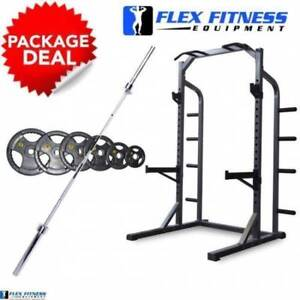 **PACKAGE DEAL** HALF RACK   100KG BAR AND WEIGHT PACKAGE