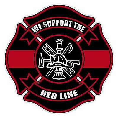 """We Support The Red Line Reflective Firefighter 4"""" Maltese Cross Decal Sticker"""