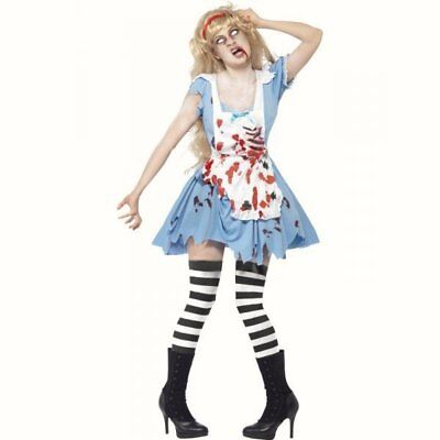 Ladies Alice in Wonderland Zombie Malice fancy dress costume womens Halloween