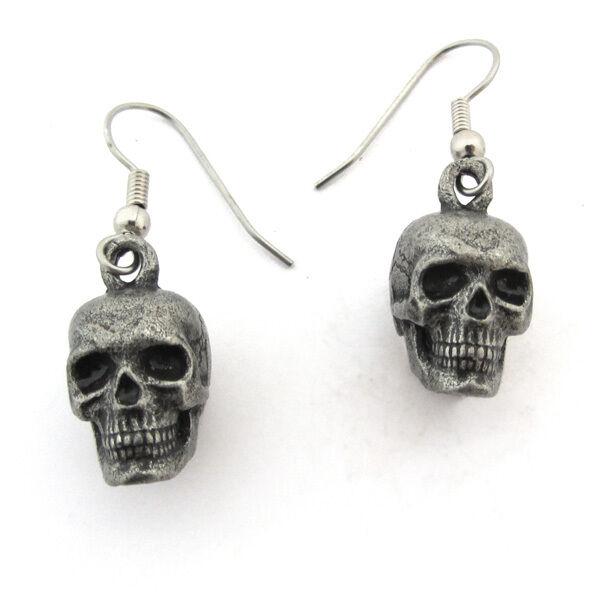 Human Skull Earrings - Pewter, Anatomy, Skeleton, Jewelry