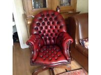 Chesterfield Leather Directors chair - swivels and tilts