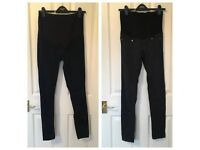 2 pairs of H&M Mama maternity jeans - black and dark blue denim