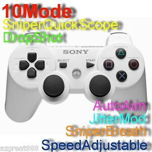 PS3 Rapid Fire Modded Limited White Controller Quick Scope10Mode USA Fast Ship