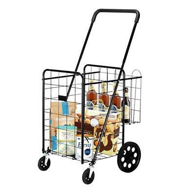 110lb Folding Utility Shopping Cart Large Basket Wwheel Outdoor Camping Laundry