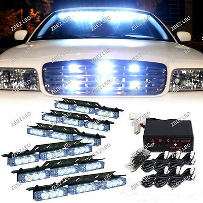 54 White LED Warning Flash Strobe Light Bar Emergency Hazard Deck Dash Grille#01
