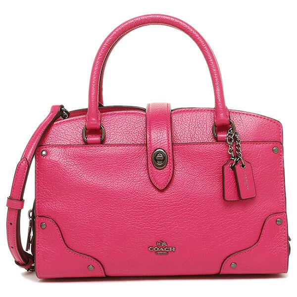 Coach 37779 Grain Leather Mercer 24 Satchel Bag Purse Cerise Pink ...