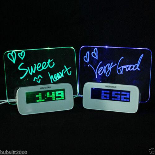 Digital LED LCD Glowing Light Message Board Alarm Clock Temperature Calendar FUN