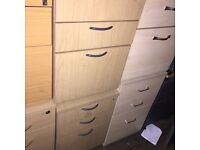 Beech pedestal office desk drawers. Delivery.