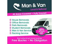 Man & van £15ph hire (short notice) 24/7 service