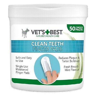 Vet's Best 50 Pack Clean Teeth Finger Pads for Dogs Mint Flavoured Easy To (Best Toothbrush To Use)