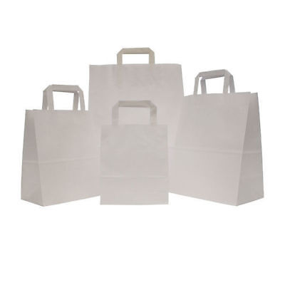 500 White Large SOS Takeaway Kraft Paper Carrier Bag with Flat Handle Cheapest
