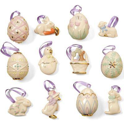 LENOX ~ 12 EASTER Miniature ORNAMENTS -  Eggs Bunny Chicks - No Tree - NIB