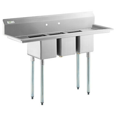58 3-compartment Commercial Sink With Two 12 Drainboards- 10x14x10 Bowls