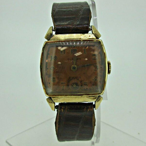 Vintage Clinton Swiss 17J CXH 10k Rolled Gold Plated Stainless Steel Watch