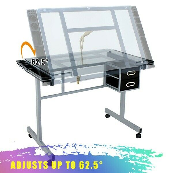 Adjustable Drawing Desk Drafting Table Tempered Glass Desk Craft Statio & Wheels