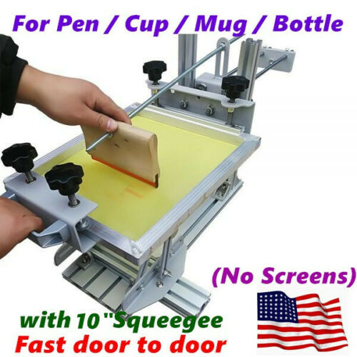 "USA Manual Cylinder Screen Printing Machine+10"" Squeegee for Pen / Mug / Bottle"
