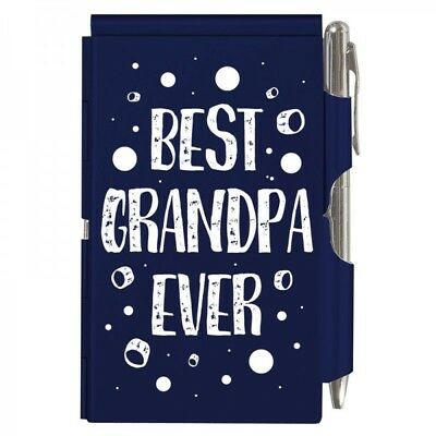 2120 Best Grandpa Ever Wellspring Flip Note Pocket Notepad Blue Grandfather