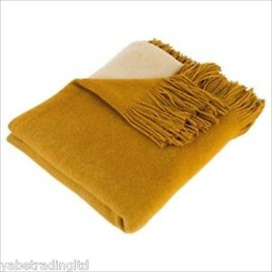 MUSTARD OMBRE SUPER SOFT THROW BLANKET 120 X 160 CM BRAND NEW HOME DECOR GIFT