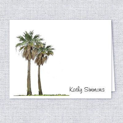 Tropical Palm Trees Note Cards, Personalized Stationery, Set of 10 Folded Cards