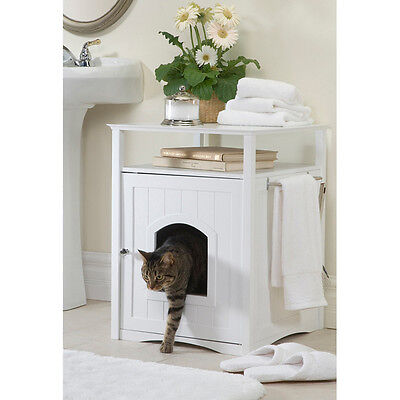 Cat Box Table End Side Cabinet House Wood Accent Night Stand Modern White New