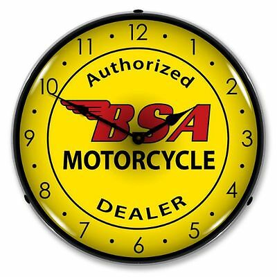 NEW BSA MOTORCYCLE BIKE RETRO BACKLIT LIGHTED CLOCK - FREE SHIPPING & HANDLING*
