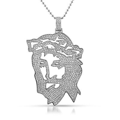Silver Jesus Outline Dreamchasers Iced Out Pendant With Chain Iced Out Jesus Pendant