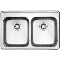 Stainless Steel Sink Wessan Drop In Two Bowl