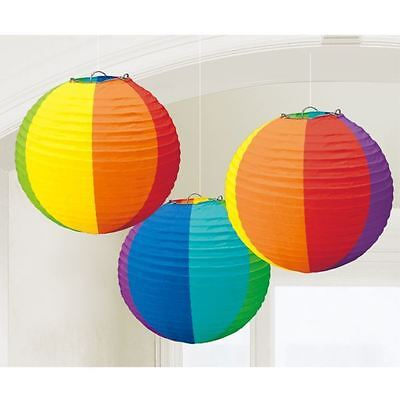 Pride Rainbow Round Lanterns 3pk Festival Parade Party Decorations](Parade Decorations)