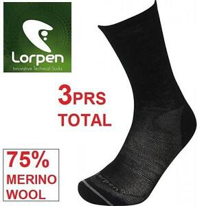 3PR NEW LORPEN SOCKS ADULT SMALL SMALL - T2 MERINO LINER SOCK - 75% MERINO WOOL 99556521