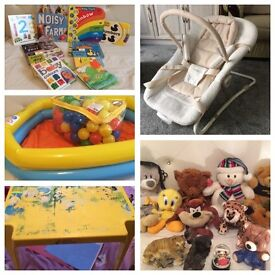 Bundle Of kids toys, teddy bears, books, paddling pool, balls, baby bouncer and much more!