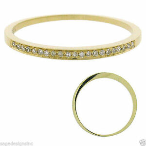 Solid Gold Diamond Wedding Ring Band Size 5.5