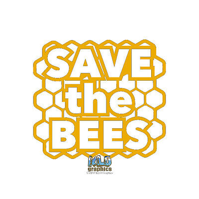 SAVE THE BEES w HIVE vinyl Sticker Beekeeping Honey Bee car truck window (Save The Honey Bees Sticker)