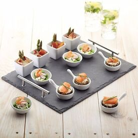 NEW Kitchen Craft 13 Piece Slate Serving Gift Set for appetisers, amuse-bouches and desserts