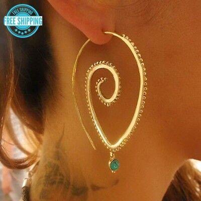 Gold or Silver Boho Spiral Hoops Tribal Faux Emerald Green Drop Earrings USA