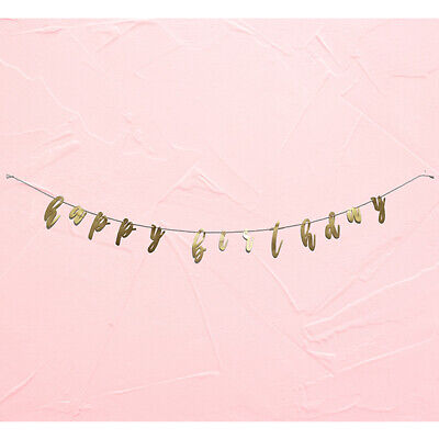 Gold Happy Birthday Garland Banner Party Decoration - Gold Garland