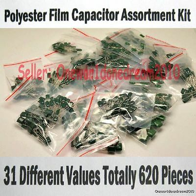 New 620 Pieces 31 Values Polyester Poly Film Capacitors Assortment Kit 2a 100v