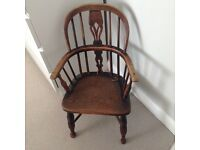 Antique Elm & Yew Child's Windsor Chair c.1840