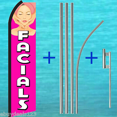 Facials Swooper Flag Pole Kit Beauty Salon Vertical Sign Flutter Feather Banner