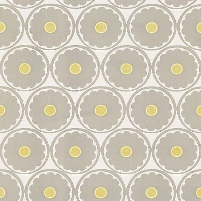 Wallpaper Retro Mid Century Flower Power Taupe Yellow & Off White Suede -