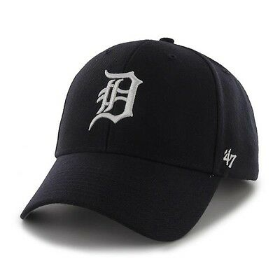 Detroit Tigers 47 Brand Mvp Clean Strap Adjustable On Field Blue Hat Cap Mlb