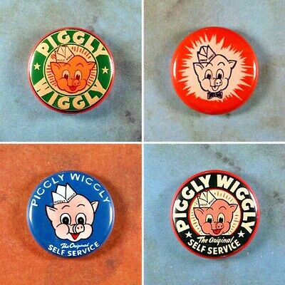 """Set of 4 Piggly Wiggly Pinback Buttons 1"""" Vintage Style Advertising Art Mascot"""
