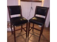 Two heavy vintage leather bar stools (need gone this weekend!)
