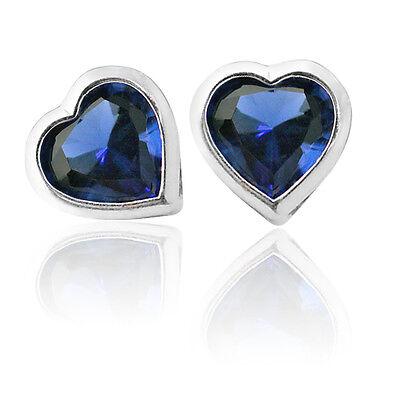 3 Mm Sapphire Heart - 3mm - 6mm HEART BLUE SAPPHIRE SCREW BACK EARRINGS 14K W GOLD BABY-ADULT & CHILD