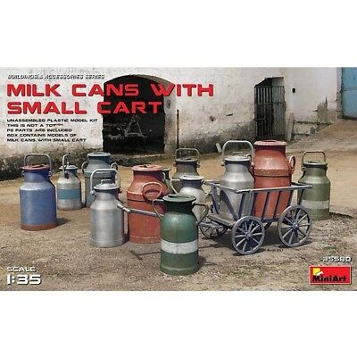 Milchkannen mit Karre im Maßstab 1:35 Miniart Bausatz 35580
