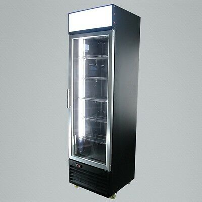 Sleek Metal Vertical Single Glass Door Commercial Display Refrigerator