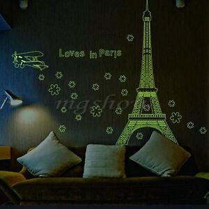 Paris Eiffel Tower Removable Night Fluorescent Wall Sticker Mural Vinyl Decor