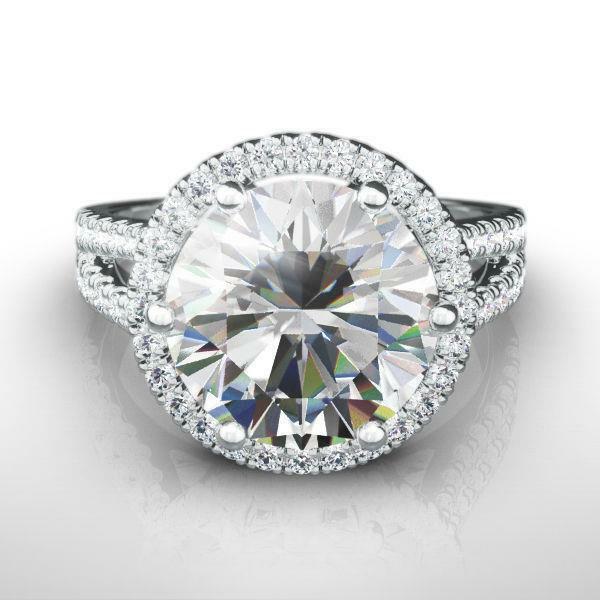 Vs1 Diamond Ring Halo Round Cut Flawless 5 Ct Estate 14k White Gold Size 7 8 9